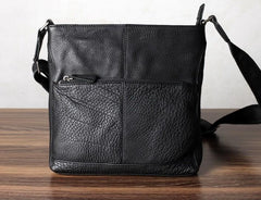 Black Leather Mens Cool Messenger Bag Shoulder Bag for men