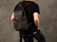 Coffee Leather Large Mens Cool Backpacks Travel Backpacks Fashion Backpacks for men
