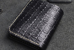Handmade billfold leather wallet crocodile style leather billfold wallet for men women