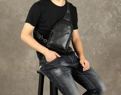 Leather Mens Cool Chest Bag Sling Bag Crossbody Sling Bag Hiking Sling Bag for men