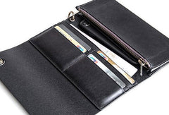 Cool Black leather biker chain wallets Black leather chain long wallet for men
