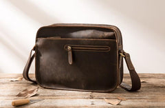 Cool Leather Mens Small Messenger Bags Shoulder Bag  for Men