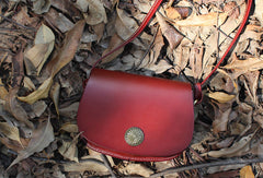 Handmade Leather Round Bag Crossbody Bag Shoulder Bag Purse for Women Leather Bag