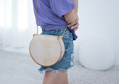 Cute Leather Womens Small Round Saddle Crossbody Purse Shoulder Bag for Women
