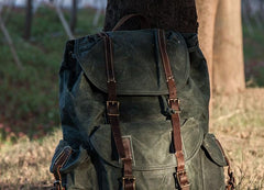 Cool Mens Waxed Large Canvas Backpack Travel Canvas Backpack for Men
