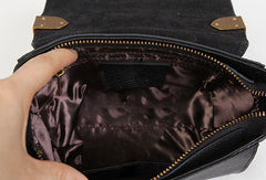 Handmade Leather Vintage Mens Black Handbag Shoulder Bag for women