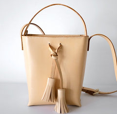 Handmade Leather Beige Womens Handbag Bucket Purse Barrel Shoulder Bags for Women
