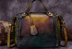Genuine Leather Handbag Vintage Rivet Crossbody Bag Shoulder Bag Purse For Women
