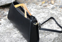 Handmade handbag black purse leather crossbody bag shoulder bag women