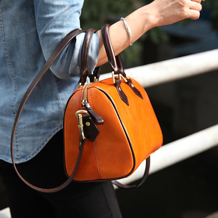 "11"" Best Leather Boston Bag - Annie Jewel"