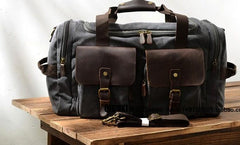Mens Waxed Canvas Leather Weekender Bag Canvas Travel Bags for Men