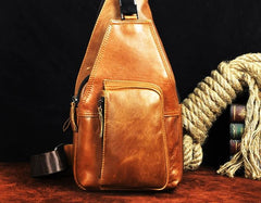 Cool Leather Mens Sling Bag Chest Bag Sling Shoulder Bag Sling Backpacks for men