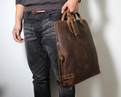 Handmade Leather Mens Cool Business Bag Briefcase Work Bag Laptop Bag for men