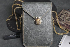 Handmade phone leather shoulder purse bag wallet flowral leather short wallet for men women