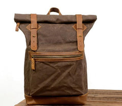 Waxed Canvas Leather Mens Cool Backpack Canvas Travel Backpack Canvas School Backpack for Men