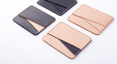 Handmade Beige Black Leather Women Men Small Card Holder Card Wallet for Men Women