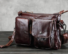 Cool Small Coffee Leather Mens Messenger Bag Shoulder Bag for Men