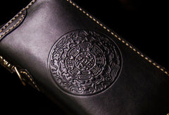 Handmade leather Tibet biker wallet long wallet black leather men phone