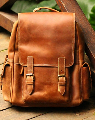 Cool Leather Mens Backpack Travel Backpack Vintage School Backpacks for men