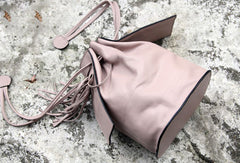 Handmade small phone bucket purse leather crossbody bag shoulder bag women