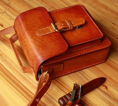 Handmade Vintage Brown Leather Mens School Shoulder Bags Messenger Bag for Men