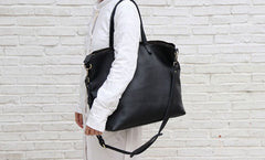 Black LEATHER Large WOMENs Tote Bag Tote Shoulder Purses FOR WOMEN