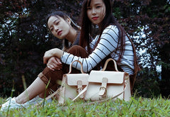 Handmade Beige Leather Womens Handbag Shoulder Bag Crossbody Purse for Women