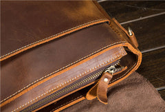 Genuine Leather Messenger Bag Cool Chest Bag Sling Bag Crossbody Bag Travel Bag Hiking Bag for men