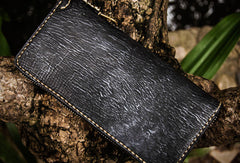 Handmade leather Geneisha biker wallet clutch zip long wallet black leather men phone