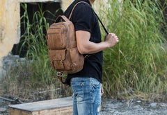 Brown Mens Leather Backpacks Travel Backpacks Laptop Backpack for men