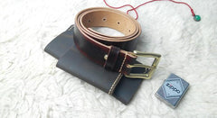 Handmade Vintage Red Brown Leather Mens Belt Leather Belt for Men