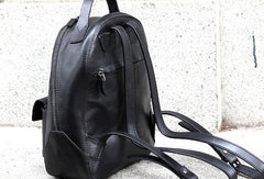 Genuine handmade Leather backpack bag shoulder bag black  women leather purse