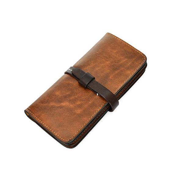 [On Sale] Handmade Vintage Mens Leather Long Wallet Cool Long Wallet for Men