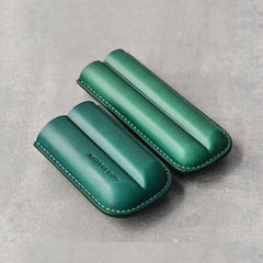 Cool Green Leather Mens 2pcs Cigar Case Cool Custom Leather Cigar Case for Men