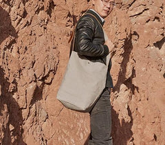 Mens Canvas Gray Cool Bucket Courier bag Messenger Bag Canvas Side Bag for Men
