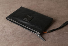 Cool Leather Mens Clutch Wallet Zipper Clutch Wallet Wristlet Wallet for Men