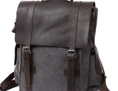 Mens Canvas Leather Backpack Canvas Travel Backpack Canvas School Backpacks for Men