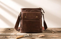 Cool Small Leather Coffee Mens Messenger Bags Shoulder Bags for Men