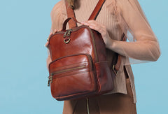 Handmade Genuine Leather Travel Bag Backpack Bag Shoulder Bag Leather Purse For Women