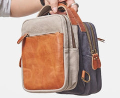 Cool Gray Canvas Leather Mens Sling Bag Chest Bag One Shoulder Pack for men
