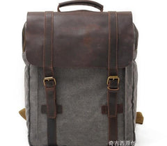 Cool Canvas Leather Mens Laptop Backpack Canvas Travel Backpack Canvas School Backpack for Men
