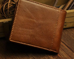 Cool Leather Mens Slim Small Wallet Short Slim Front Pocket Wallet for Men
