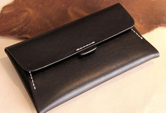Handmade leather detachable clutch purse long wallet purse clutch women
