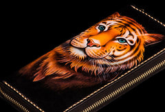 Handmade leather tiger biker wallet long wallet black leather men phone