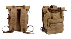 Waxed Canvas Leather Mens Backpack Canvas Travel Backpack Canvas School Backpack for Men