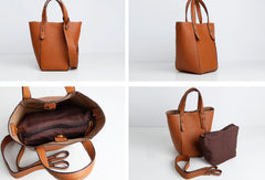 Genuine Leather Cute Bucket Bag Handbag Crossbody Bag Shoulder Bag Women Leather Purse