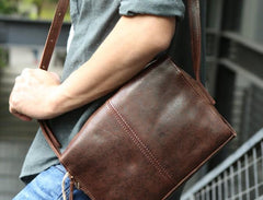 Cool Leather Mens Small Messenger Bag Shoulder Bag for men