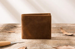 Cool Leather Mens Slim Small Wallet Bifold Vintage Short Wallet for Men