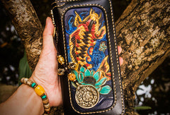 Handmade leather carp biker wallet clutch zip long wallet brown leather men phone