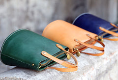 Handmade Leather Bucket Bag Purse Bucket Handbags Shoulder Bag for Women